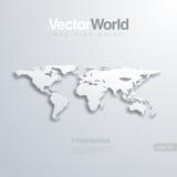 Illlustraion do vetor do mapa do mundo 3D. Útil para o infog ilustração stock
