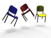 Illustrated colorful chairs floating. 3D computer generated illustration of colorful chairs floating over white Stock Images
