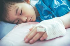 Illness asian child admitted in hospital with saline intravenous. Closeup of illness asian child admitted in hospital with saline intravenous IV on hand. Girl Stock Image