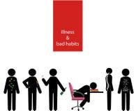 Illness and bad habits stick man set Stock Photos