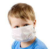 Illness child boy in medicine mask Stock Images