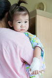 Illness child in hospital, saline intravenous (IV) on hand asian Stock Images