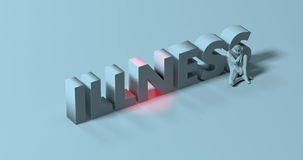 Illness - 3d render lettering sign, near sick depressed man, ill. Sick sad man low poly 3d render, near Illness text sign illustration Royalty Free Stock Photography