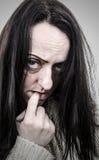 Illness. Disturbed woman alone portrait royalty free stock photos