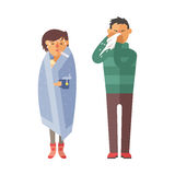 Illness flu people feeling cold and blowing his nose vector illustration. Royalty Free Stock Image