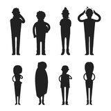Illness flu people feeling cold silhouette vector illustration. Royalty Free Stock Photos