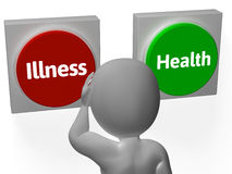 Illness Health Buttons Show Sickness Or Healthcare Stock Image