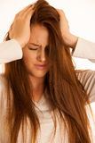 Illness woman having headache and feeling unweal Royalty Free Stock Images