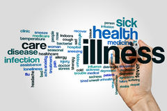 Illness word cloud. Concept on grey background Stock Photo