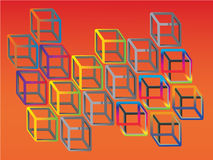 Illogical colorful cubes Stock Photos