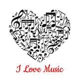 illstration καρδιών μουσικό το χαρτοφυλάκιό μου στη διανυσματική υποδοχή Στοκ Εικόνα