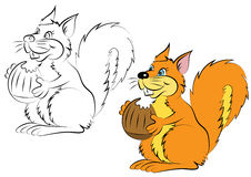 Illstration of the cheerful and smiling the character orange squirrel with a nut Stock Photo