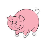 Illstration of the cheerful and smiling pink pig Stock Images