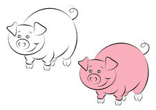 Illstration of the cheerful and smiling pink pig Stock Photography