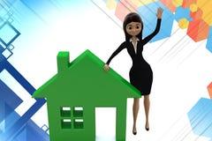 illstration d'icône de maison de femme des affaires 3d Images stock