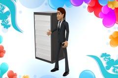 illstration del servidor del presente del hombre de negocios 3d Fotos de archivo libres de regalías