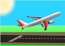Illstration di decollo del airbus o dell'aereo Fotografia Stock Libera da Diritti