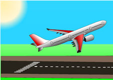 Illstration vector of plane or airbus taking off. Illustration vector of airplane or airbus plane taking off over the runway Royalty Free Stock Photo