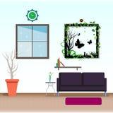 Illu astratto di vettore del fondo di progettazione piana interna del salone royalty illustrazione gratis