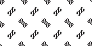 Illu della carta da parati di ripetizione isolato sciarpa senza cuciture del bulldog francese della zampa del cane del bastoncino royalty illustrazione gratis