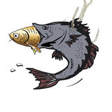 Illuatration with who has the power. Illustration of a big fish that eat smaller fish Royalty Free Stock Image