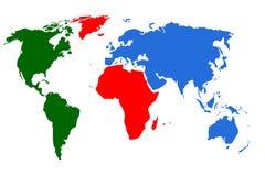 Illudtration colorido do mapa do mundo Imagem de Stock