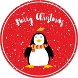 Illuistration heureux de vecteur de carte de Joyeux Noël de pingouin mignon illustration de vecteur