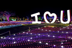 Illumia Light Illumination festival Korea Night I LOVE YOU. Illumia at Let's Run Racepark near Busan is a fabulous area of ground light illumination and musical Royalty Free Stock Photos