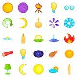 Illuminant icons set, cartoon style Stock Image