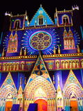 Illuminate facade of the cathedral Royalty Free Stock Photo