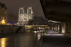 Illuminate Notre-Dame from Paris with Sena in the night Royalty Free Stock Image