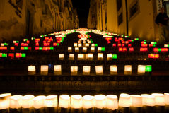 The illuminate staircase. Of Caltagirone stock photo