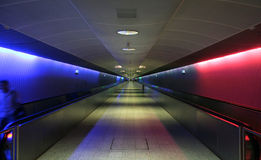 Illuminated. Conveyor at the airport stock image