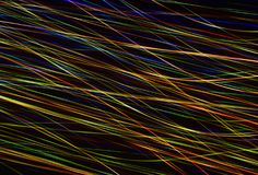 An illuminated abstract digital wave of not clear luminous particles and a flash light effect. Technological concept of a radio or sound wave. Abstract Stock Photo
