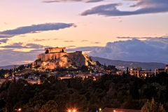 Illuminated Acropolis in Athens, Greece at dusk Stock Photography
