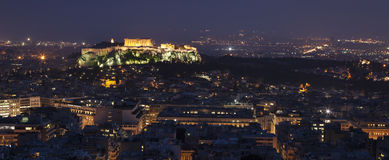 Illuminated Acropolis in Athens. At night Stock Image