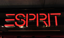 Illuminated advertising for Esprit Stock Photography