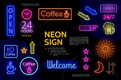 Illuminated Advertising Neon Signs Composition. With electric inscriptions colorful frames arrows coffee cups beer glass stars indicating hand isolated vector Stock Image