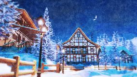 Illuminated alpine town at winter night watercolor. Snowbound european town among alpine mountains with half-timbered houses illuminated by christmas lights and stock photos