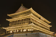 Illuminated ancient Drum Tower in Xian, China Stock Image