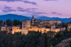 Illuminated Arabic Alhambra palace in Granada,Spain Royalty Free Stock Photos