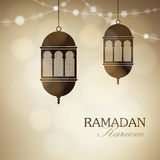 Illuminated arabic lamps, lanterns with string of lights. Golden vector illustration background for Muslim community Stock Photo
