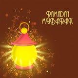 Illuminated Arabic lantern for holy month Ramadan Kareem celebration. Royalty Free Stock Images