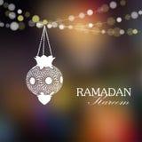 Illuminated arabic lantern, Ramadan card. Illuminated arabic lamp, lantern with lights,  illustration background for muslim community holy month Ramadan Kareem Stock Photos