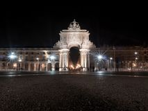 Illuminated arch augusta in downtown of Lisbon, Portugal, Europe at night. stock photos