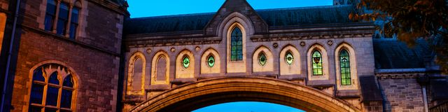 Illuminated Arch of the Christ Church Cathedral in Dublin, Ireland. Dublin, Ireland. Illuminated Arch of the Christ Church Cathedral in Dublin, Ireland at night Stock Photography