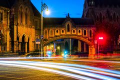 Illuminated Arch of the Christ Church Cathedral in Dublin, Ireland. Dublin, Ireland. Illuminated Arch of the Christ Church Cathedral in Dublin, Ireland at night Royalty Free Stock Photography