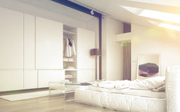 Illuminated Architectural White Bedroom Design Stock Images