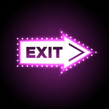 Illuminated arrow shaped 3D exit sign Stock Photography