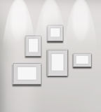 Illuminated art gallery. Picture gallery exhibition illuminated space empty frames collection stock illustration